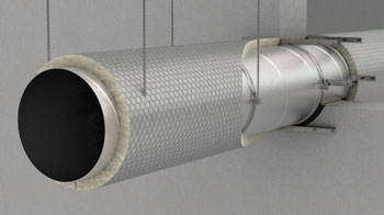 Fire protection of circular ventilation duct with PAROC stone wool products