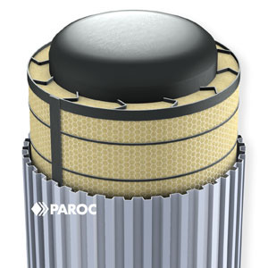 Pressure vessel insulated with PAROC Pro Wired Mat, fixed with steel bands